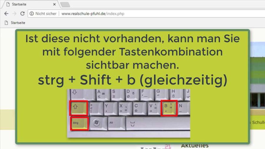 Cover: Lesezeichensymbolleiste Anleitung Shortcut