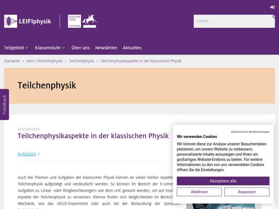 Cover: Teilchenphysikaspekte in der klassischen Physik