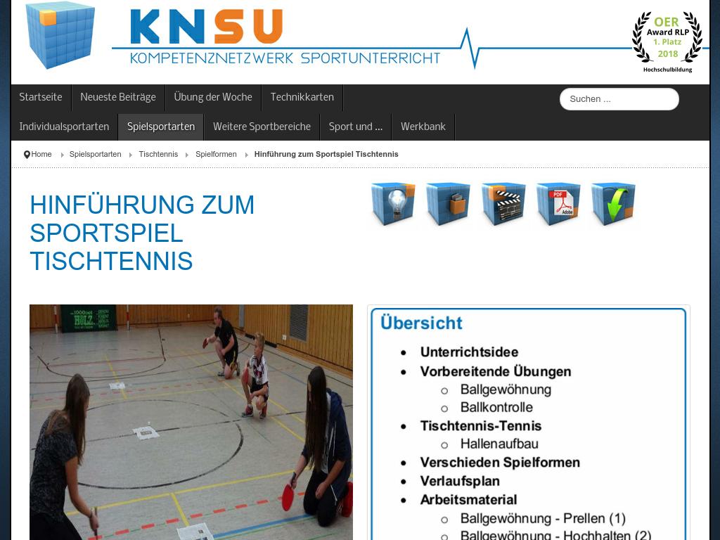 Cover: KNSU - Hinführung zum Sportspiel Tischtennis