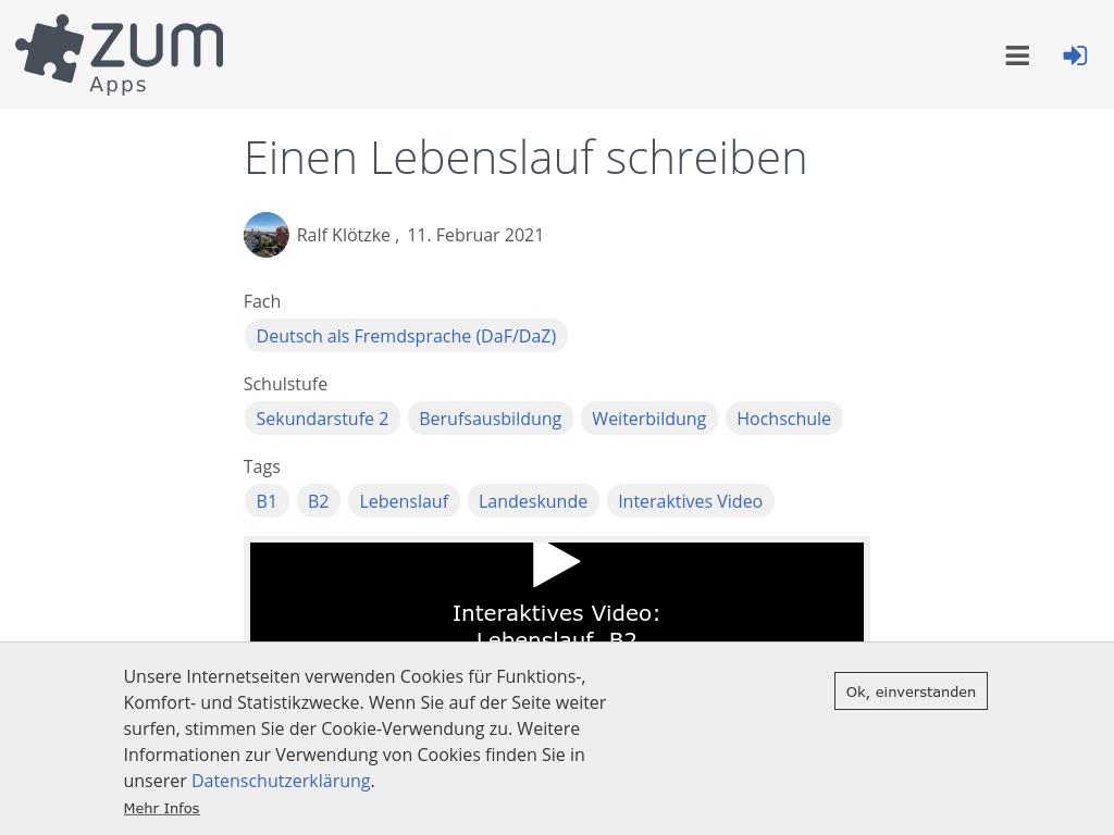 Cover: Einen Lebenslauf schreiben | ZUM-Apps