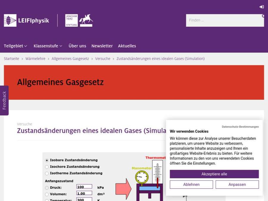 Cover: Zustandsänderungen eines idealen Gases (Simulation)