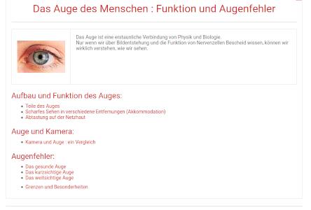 Cover: Das Auge des Menschen : Funktion und Augenfehler