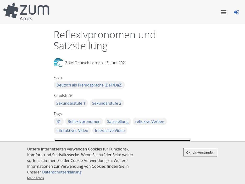 Cover: Reflexivpronomen und Satzstellung   ZUM-Apps