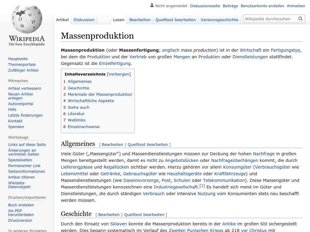 Cover: Massenproduktion - wikipedia.org