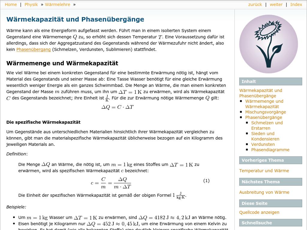 Cover: Wärmekapazität und Phasenübergänge — Grundwissen Physik