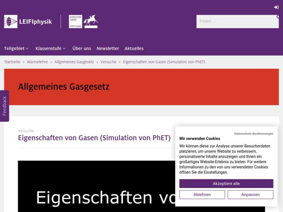 Cover: Eigenschaften von Gasen (Simulation von PhET)