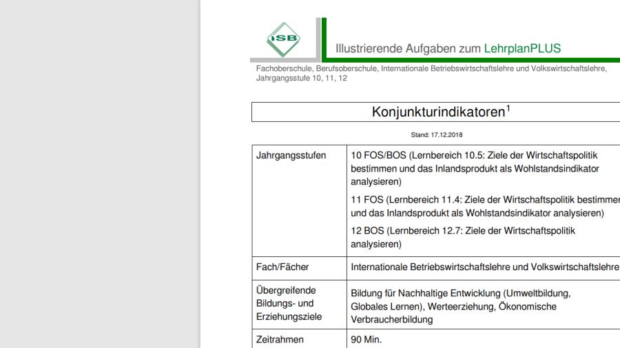 Cover: Konjunkturindikatoren, Illustrierende Aufgaben zum LehrplanPLUS Bayern