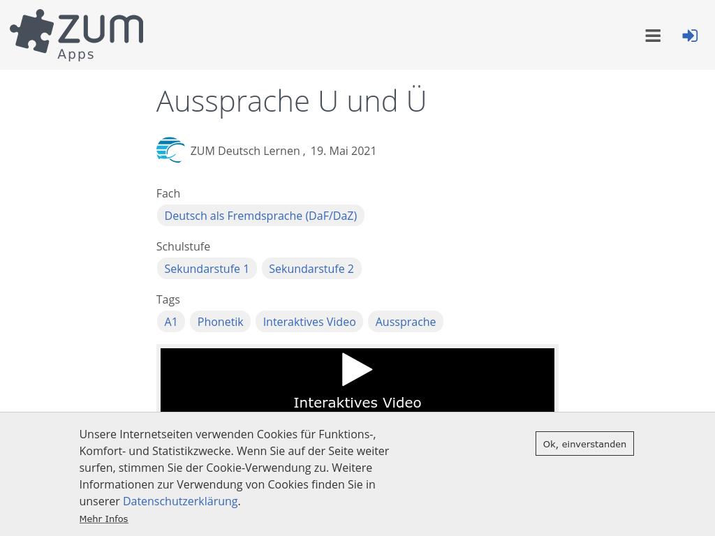 Cover: Aussprache U und Ü | ZUM-Apps