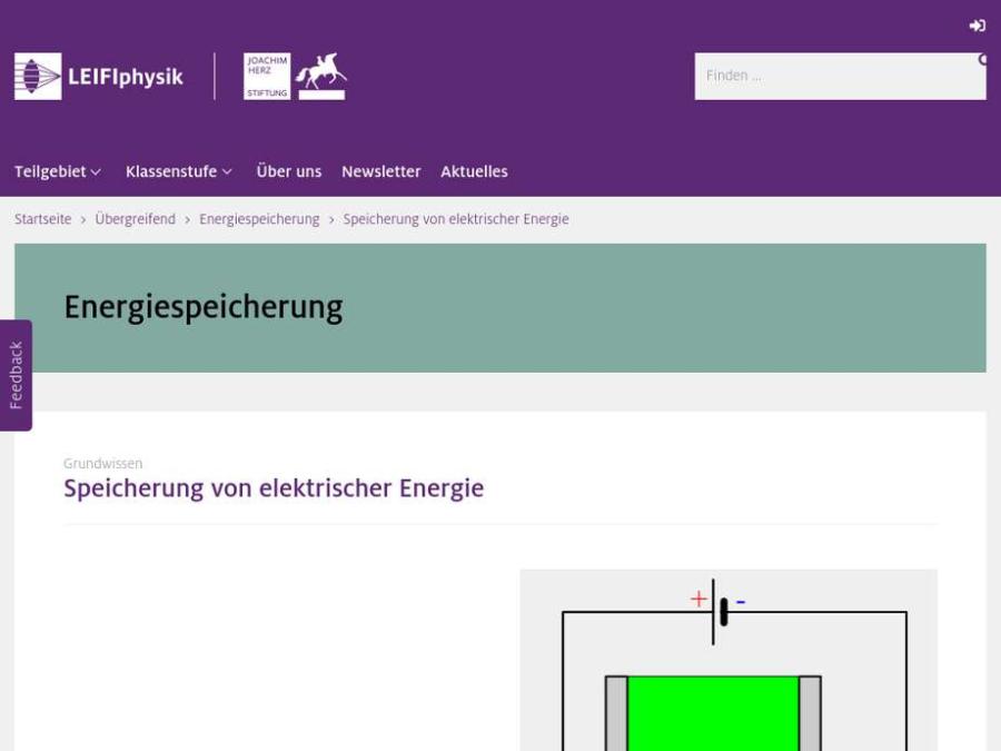 Cover: Speicherung von elektrischer Energie