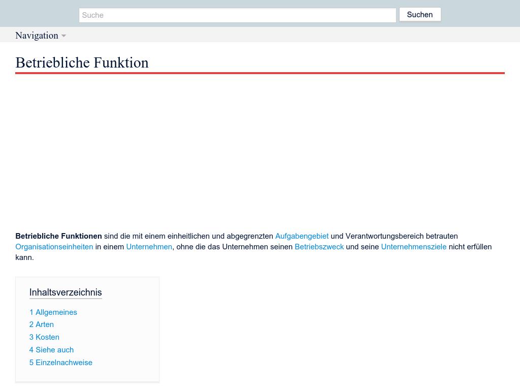Cover: Betriebliche Funktion - DeWiki