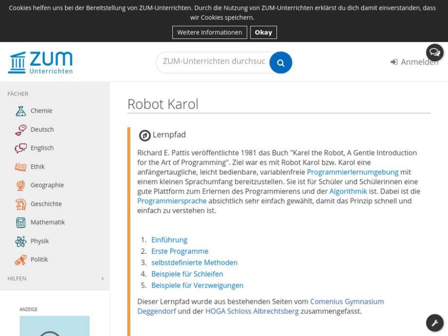 Cover: ZUM Lernpfad: Robot Karol
