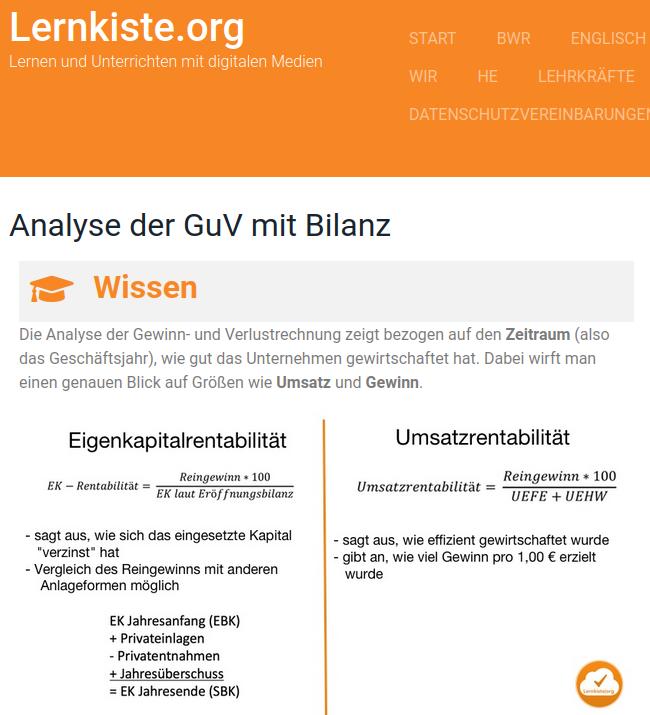 Cover: Analyse der GuV mit Bilanz – Lernkiste.org