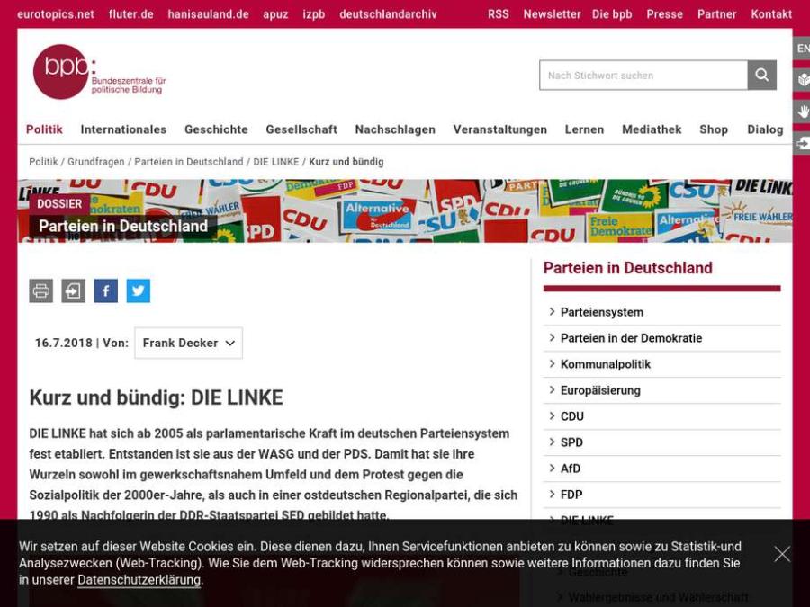 Cover: Parteien in Deutschland: DIE LINKE