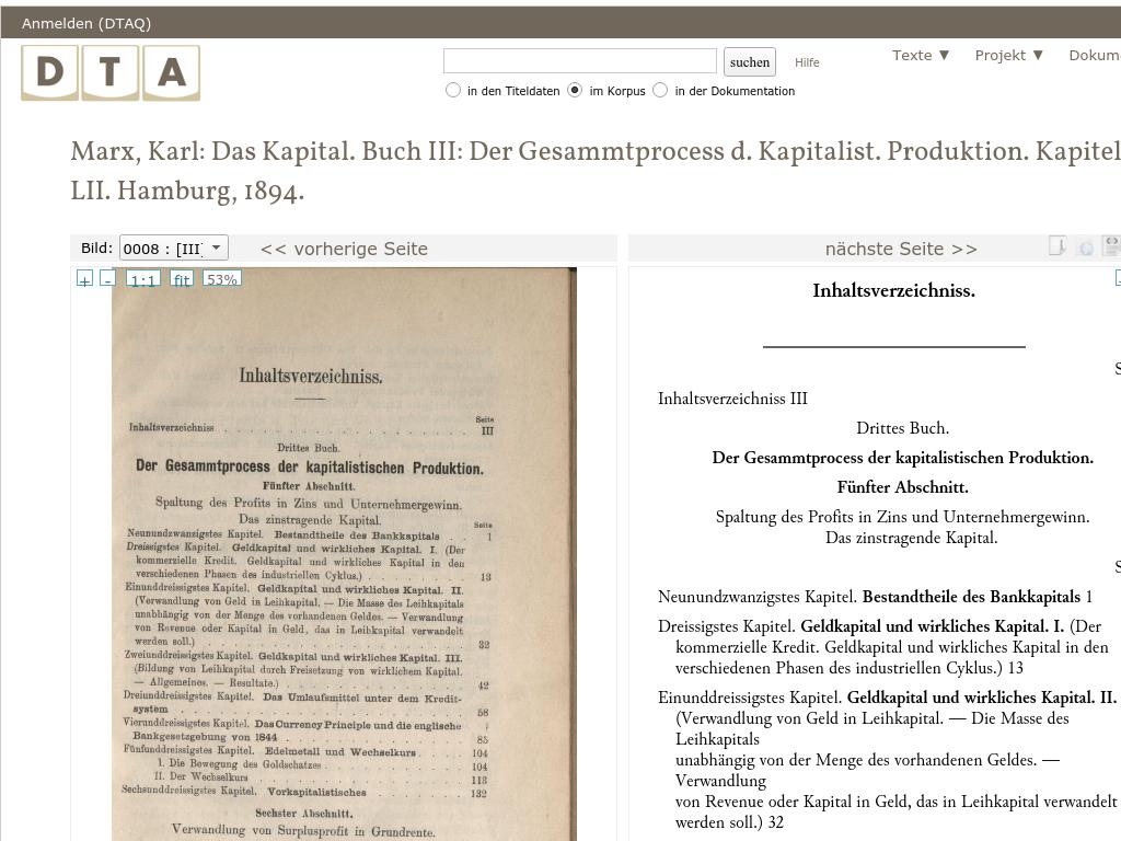 Cover: Deutsches Textarchiv – Marx, Karl: Das Kapital. Buch III: Der Gesammtprocess d. Kapitalist. Produktion. Kapitel XXIX-LII. Hamburg, 1894.