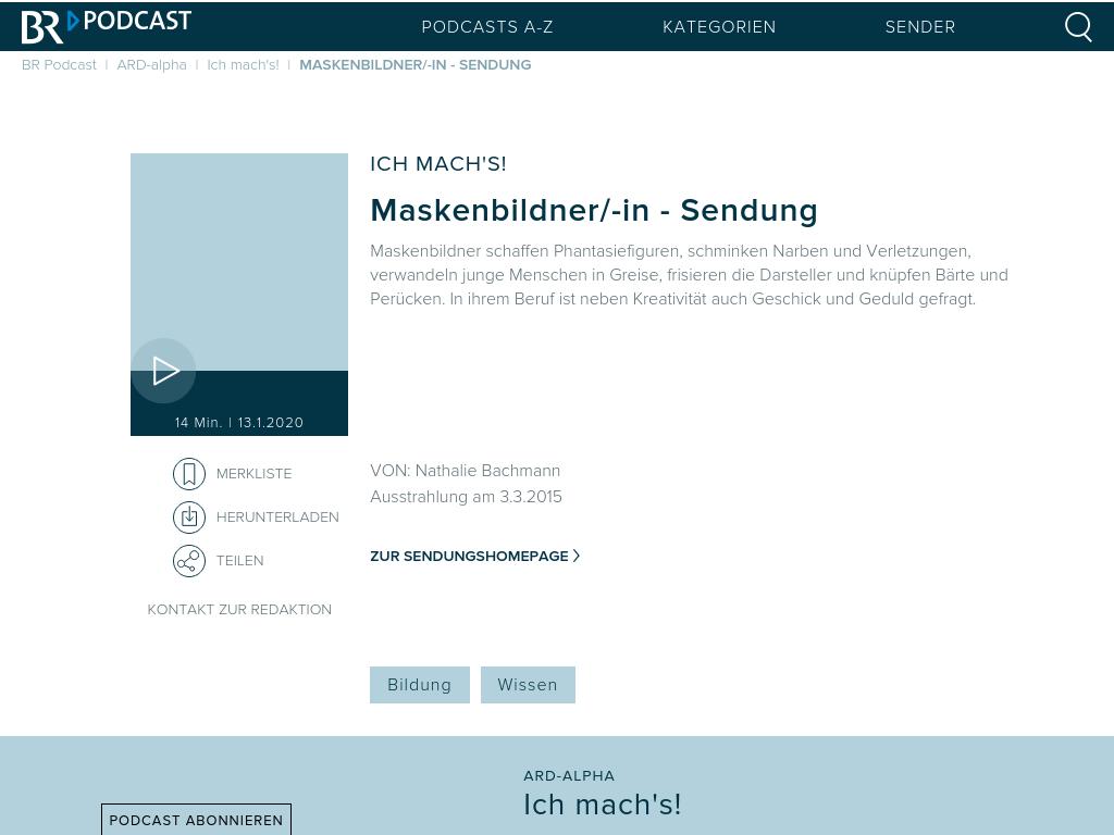 Cover: Maskenbildner/-in - Sendung