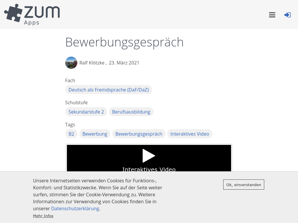 Cover: Bewerbungsgespräch   ZUM-Apps