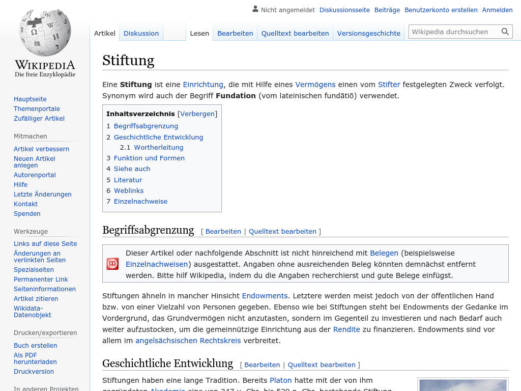 Cover: Stiftung - wikipedia.org