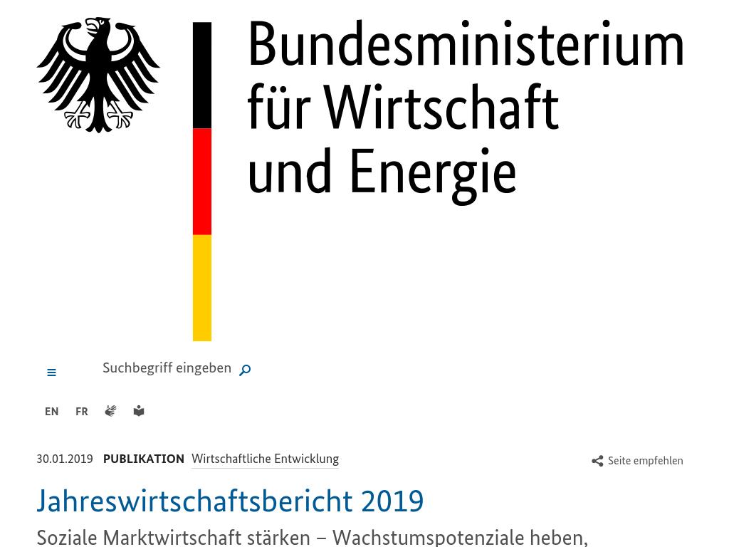 Cover: BMWI - Jahreswirtschaftsbericht 2019