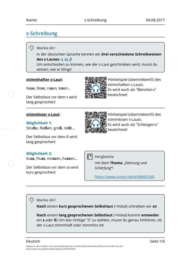 Cover: Arbeitsblatt zur s-Schreibung