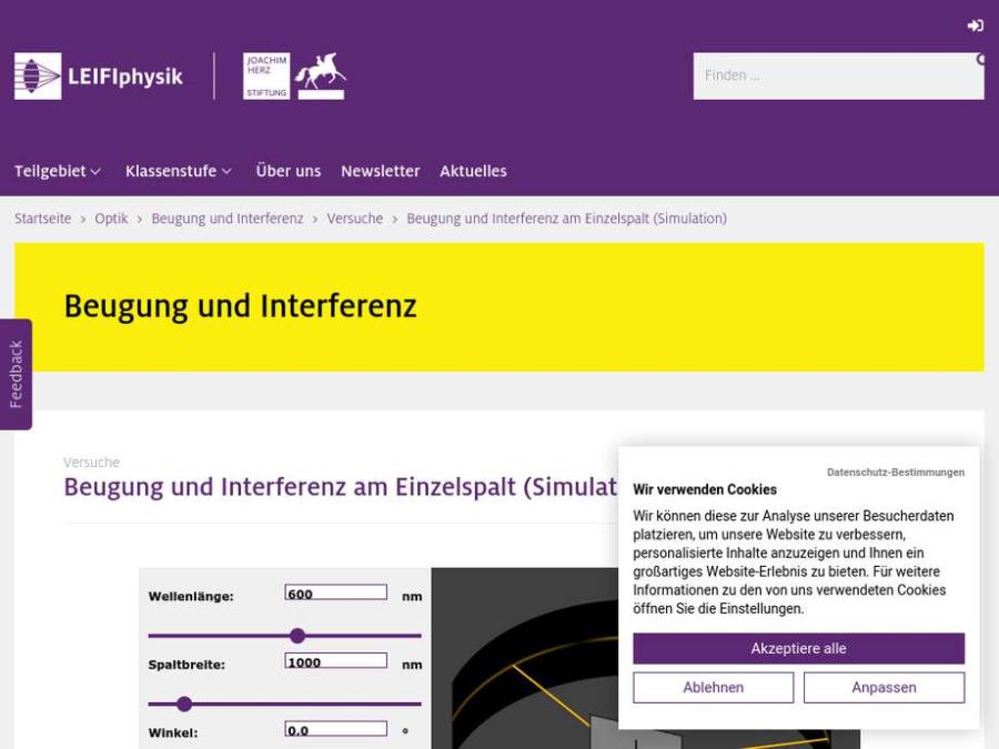 Cover: Beugung und Interferenz am Einzelspalt (Simulation)