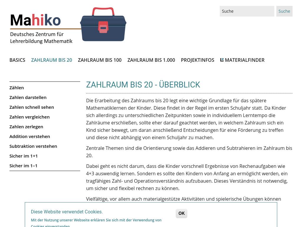 Cover: Zahlraum bis 20 - Überblick | Mahiko