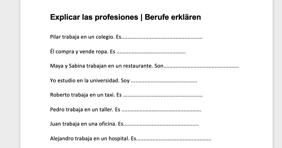 Cover: Qué profesión es | Übung