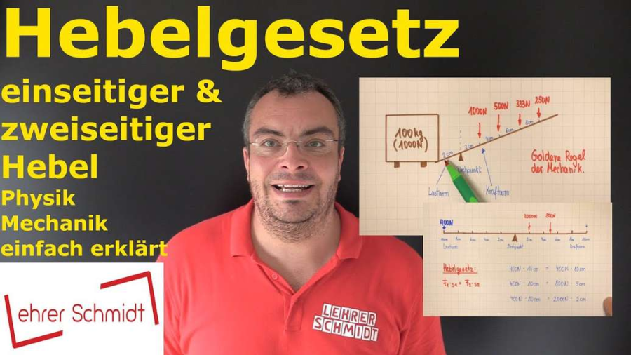Cover: Hebelgesetz - einseitiger und zweiseitiger Hebel   Physik - einfach erklärt   Lehrerschmidt