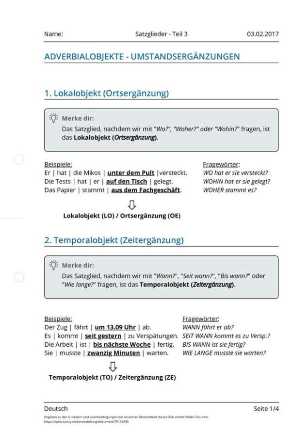 Cover: Arbeitsblatt Satzglieder