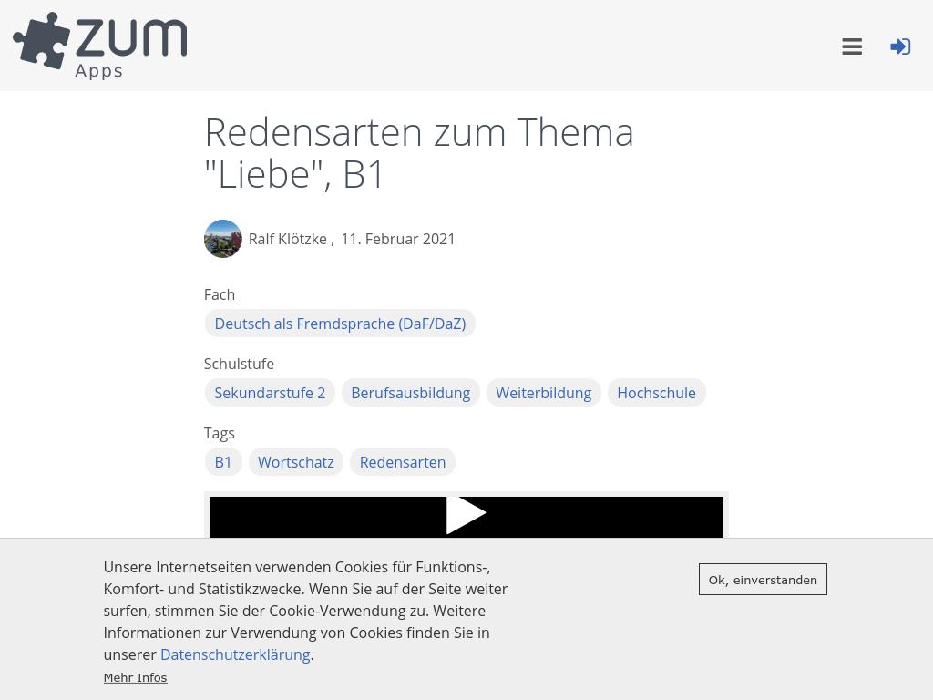 Cover: Redewendungen zum Thema LIEBE   ZUM-Apps