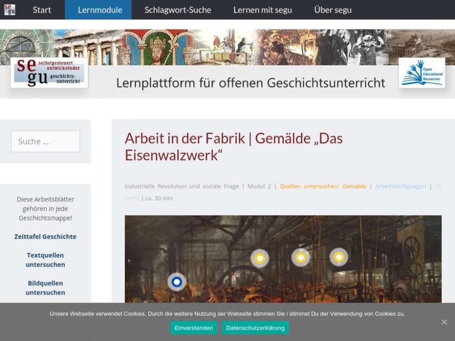 """Cover: Arbeit in der Fabrik   Gemälde """"Das Eisenwalzwerk"""