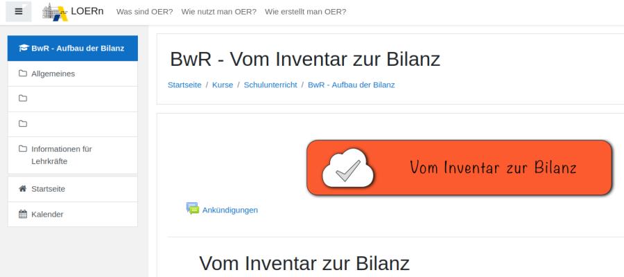 Cover: Vom Inventar zur Bilanz - Kurs