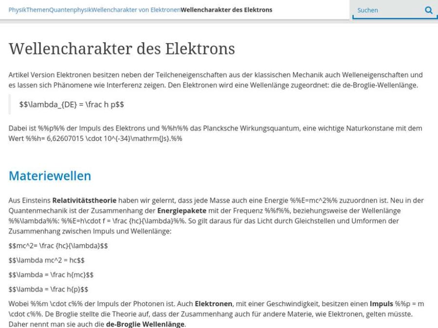 Cover: Wellencharakter des Elektrons