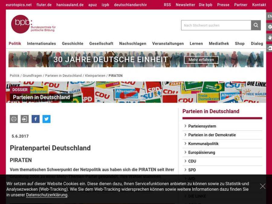 Cover: Parteien in Deutschland: Piratenpartei