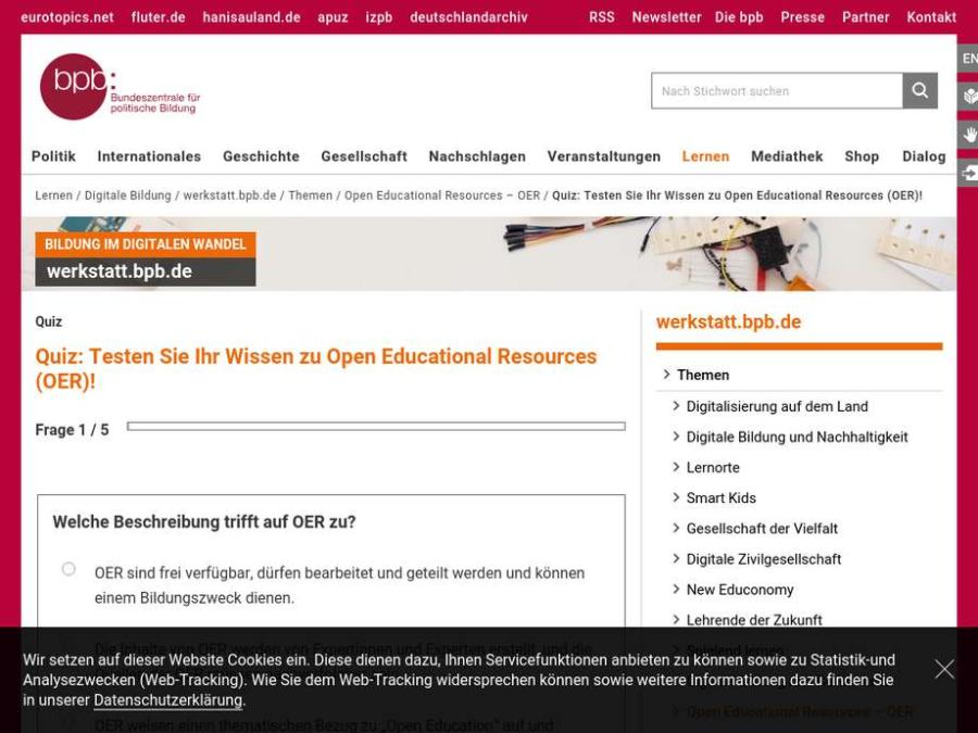 Cover: Quiz: Testen Sie Ihr Wissen zu Open Educational Resources (OER)!