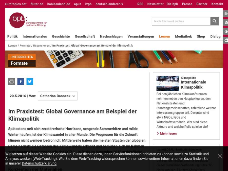 Cover: Im Praxistest: Global Governance am Beispiel der Klimapolitik