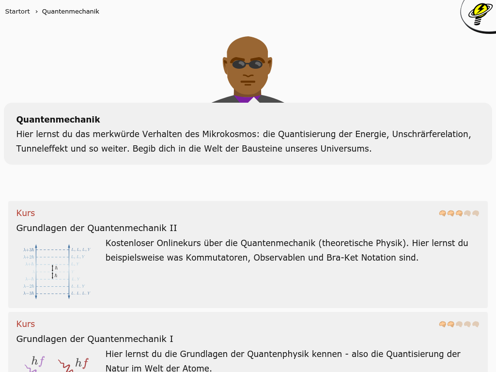 Cover: Quantenmechanik - kostenlose Kurse, Videos und mehr!