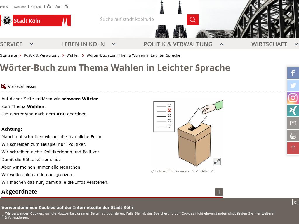Cover: Wahlen in leichter Sprache   Glossar
