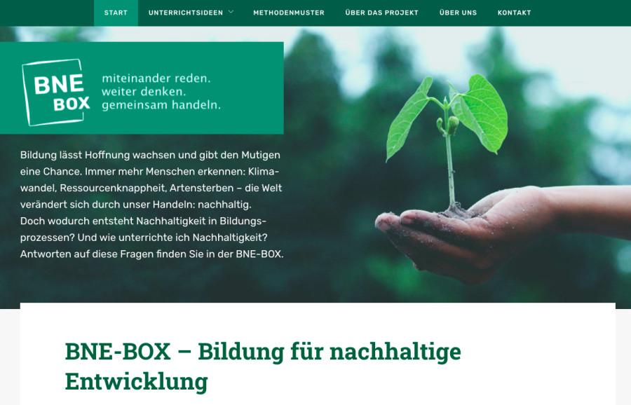 Cover: BNE-BOX: Bildung für nachhaltige Entwicklung