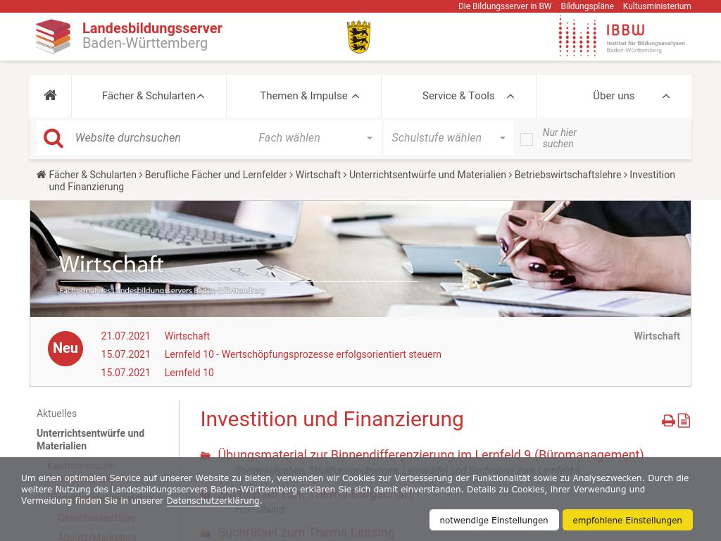 Cover: Investition und Finanzierung — Landesbildungsserver Baden-Württemberg