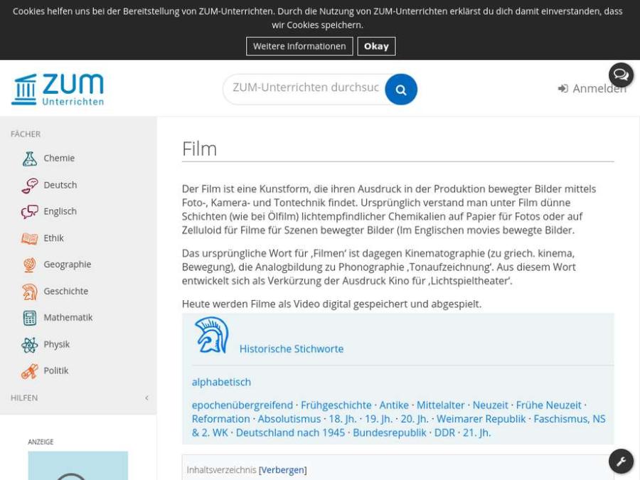 Cover: Film - Erläuterungen und Unterrichtseinsatz