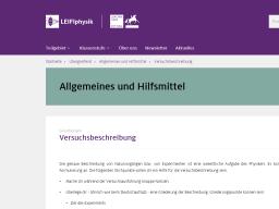 Cover: Versuchsbeschreibung | LEIFIphysik