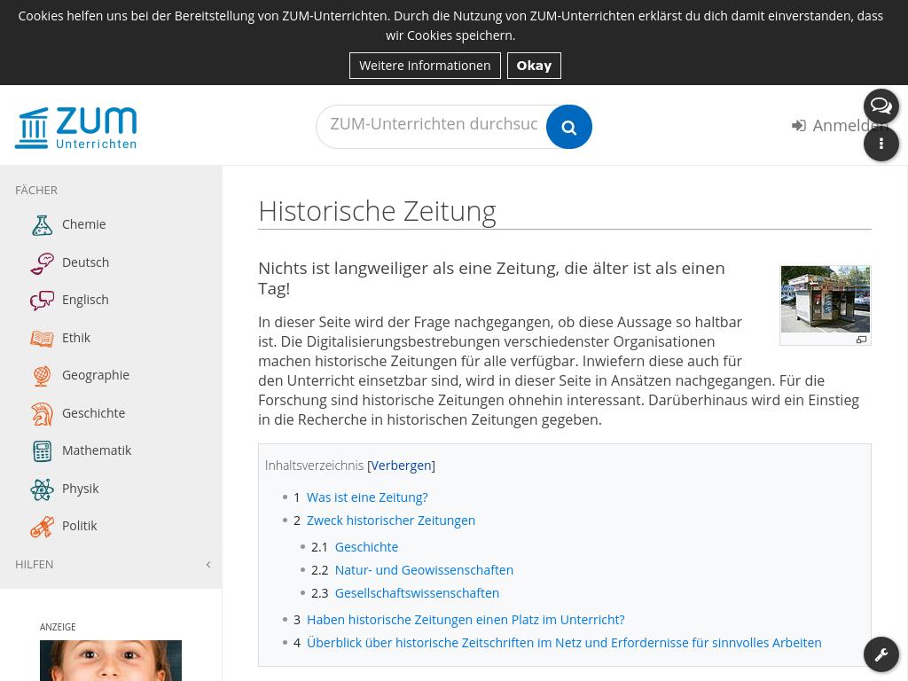 Cover: Historische Zeitung – ZUM-Unterrichten
