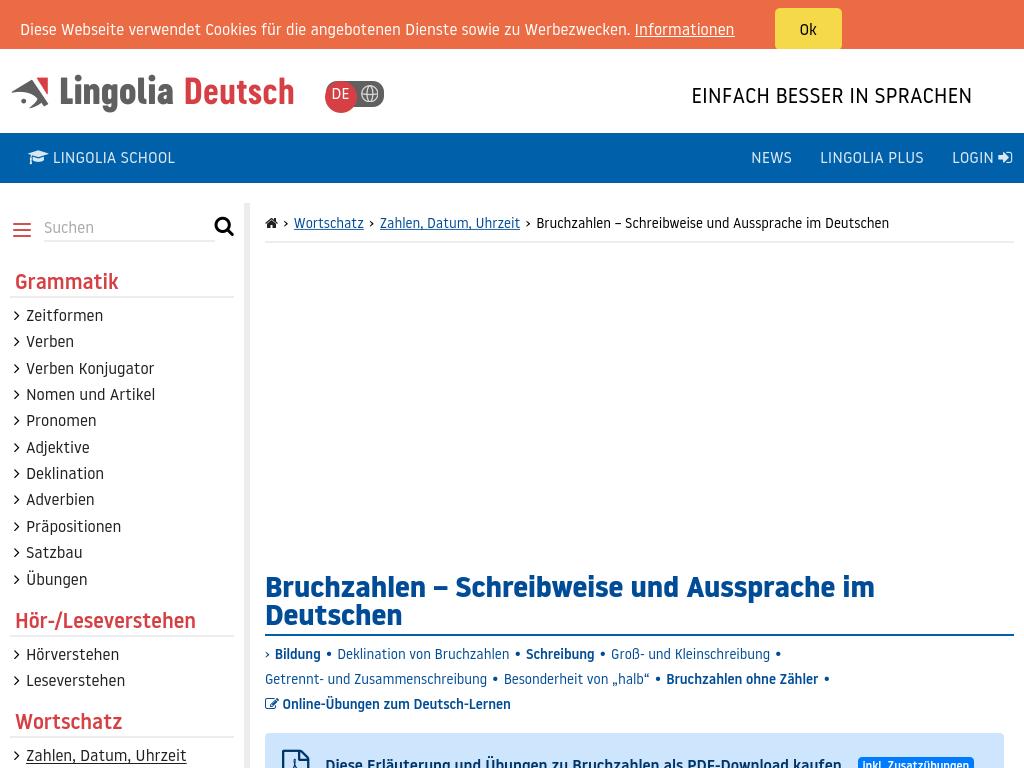 Cover: Bruchzahlen im Deutschen