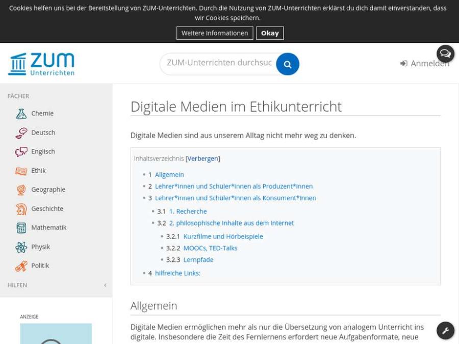 Cover: Digitale Medien im Ethikunterricht