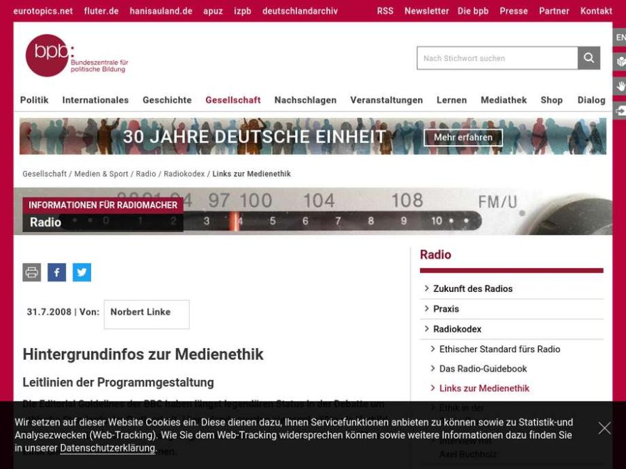 Cover: Medienethik: Leitlinien zur Programgestaltung