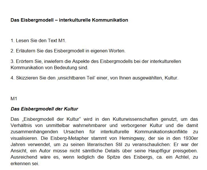 Cover: Das Eisbergmodell - interkulturelle Kommunikation