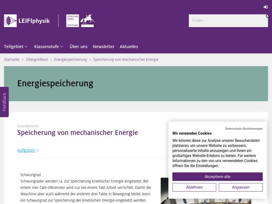 Cover: Speicherung von mechanischer Energie
