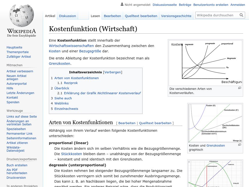 Cover: Kostenfunktion (Wirtschaft) - wikipedia.org