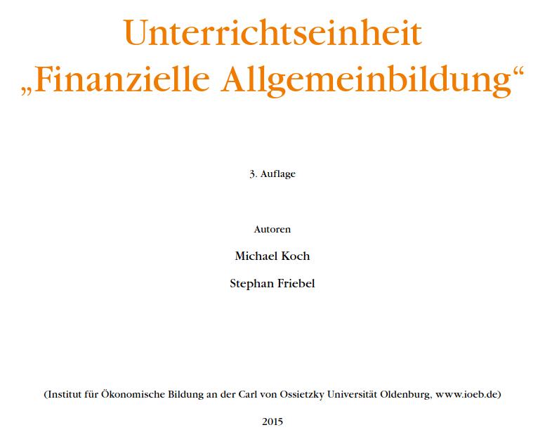 Cover: Finanzielle Allgemeinbildung