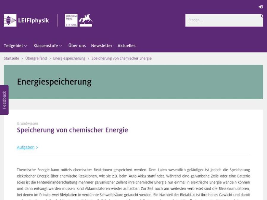 Cover: Speicherung von chemischer Energie